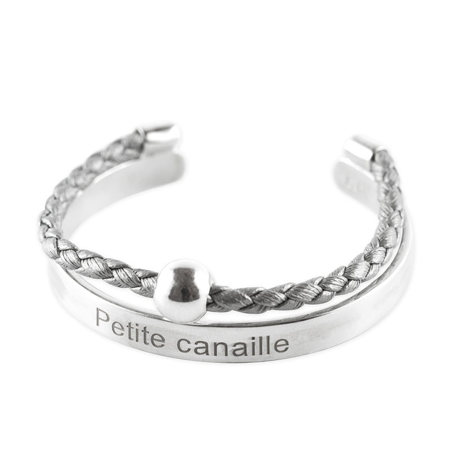 """Child's solid silver bangle with inscription """"Petite canaille"""" and silvery grey leather cord"""