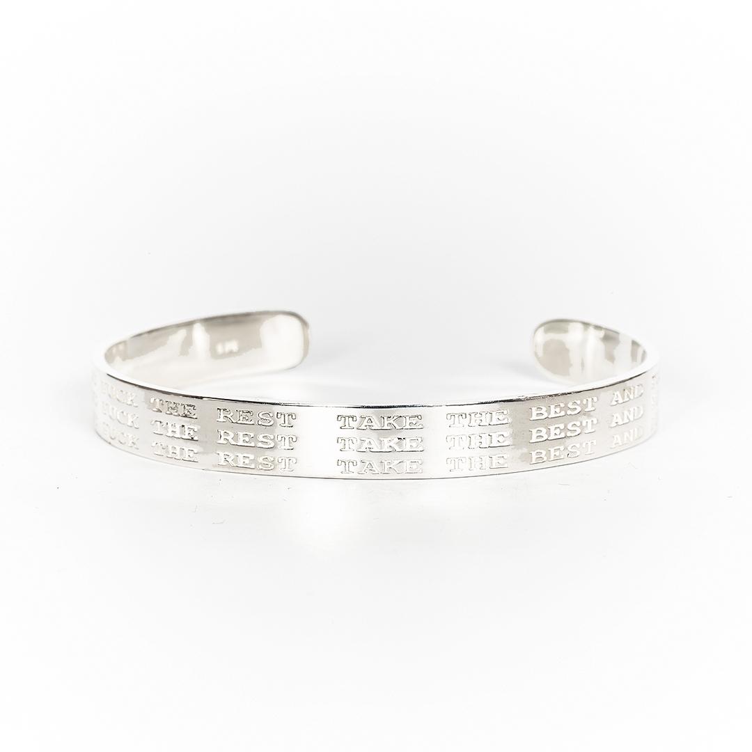 Perle de Jade bracelet jonc en argent massif (925) gravé