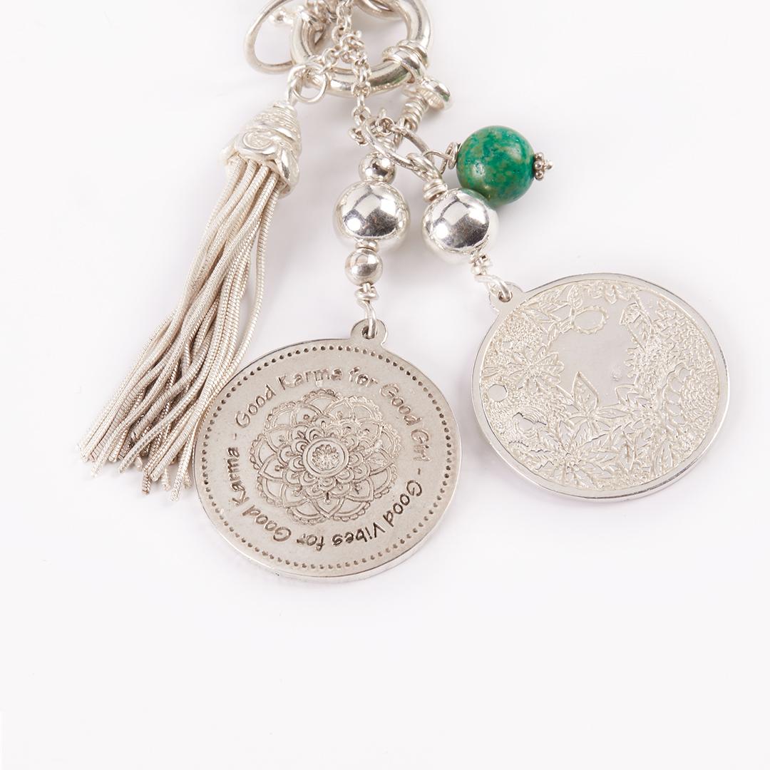 Collier Perle de Jade turquoise verte argent massif 925