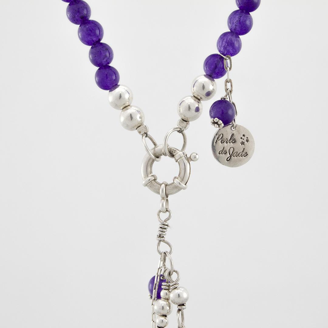 Perle de Jade collier en pierre d'améthyste