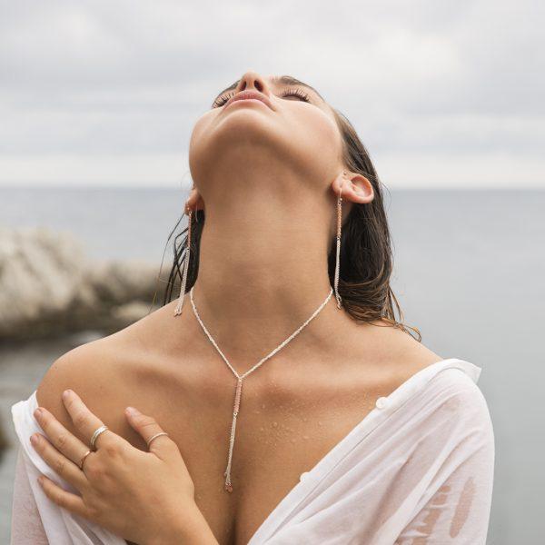Collier Perle de Jade en argent massif et plaqué or rose