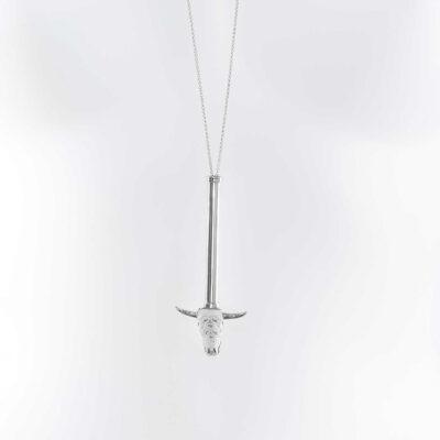 "Collier ""Buffalo Head"" Perle de Jade en argent massif (925)"