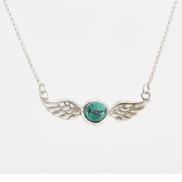 Collier Perle de Jade argent massif (925) pierre turquoise