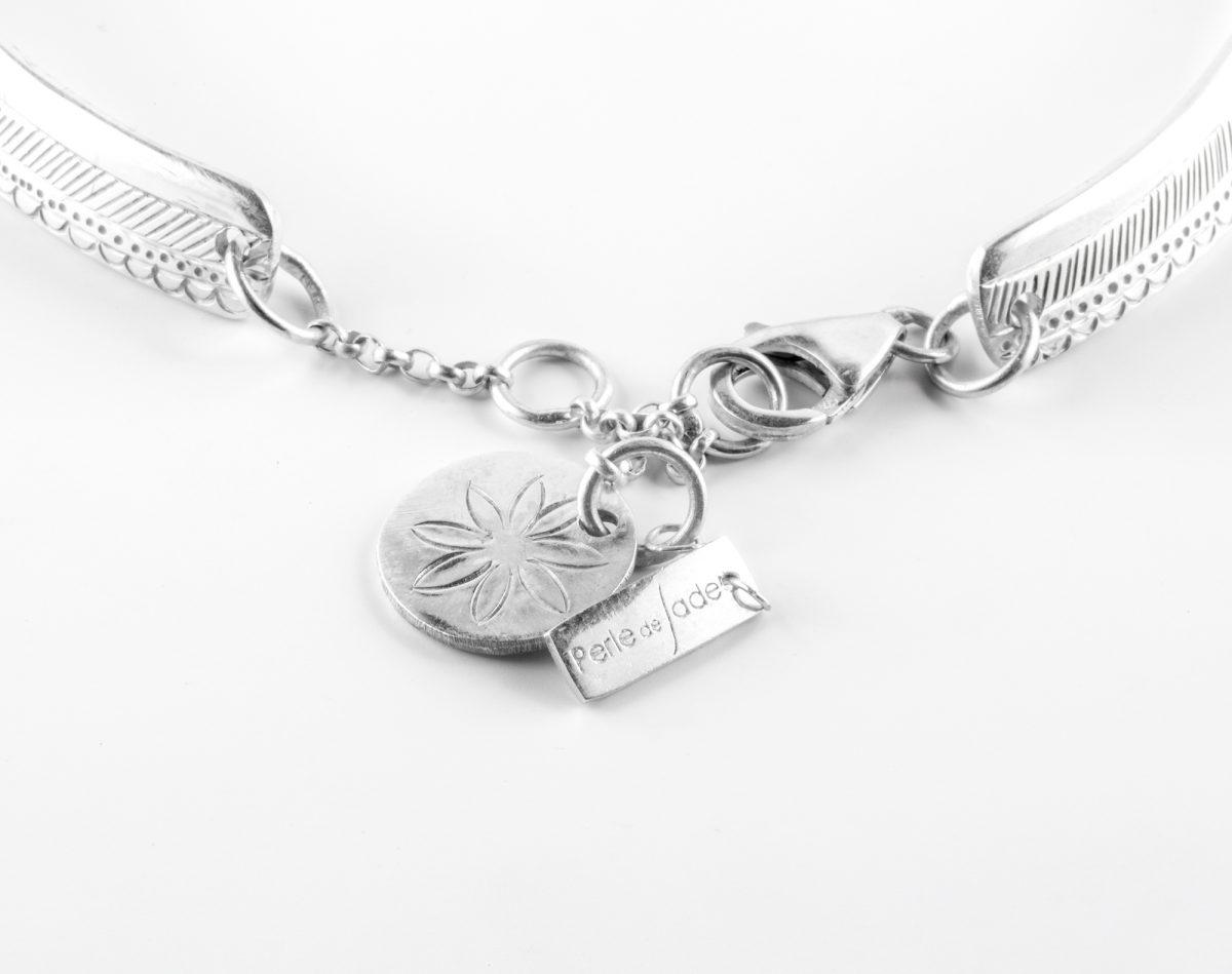 Collier Perle de Jade argent massif et pierre de quartz blanc