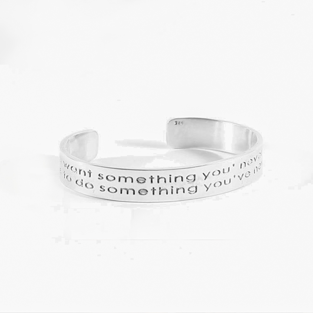 Bangle in silver with engraving « Something »