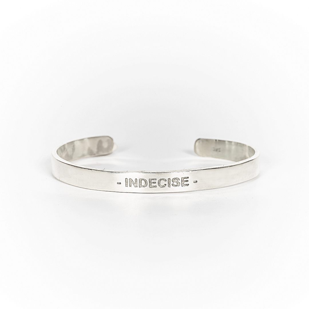 Bangle in silver with engraving « Indécise »(Undecided)