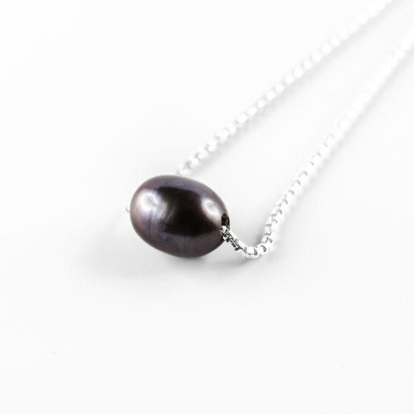 Collier Perle de Jade argent massif (925) perle noire