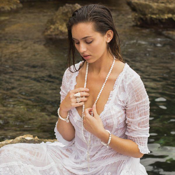 Perle de Jade collier en quartz blanc et argent massif