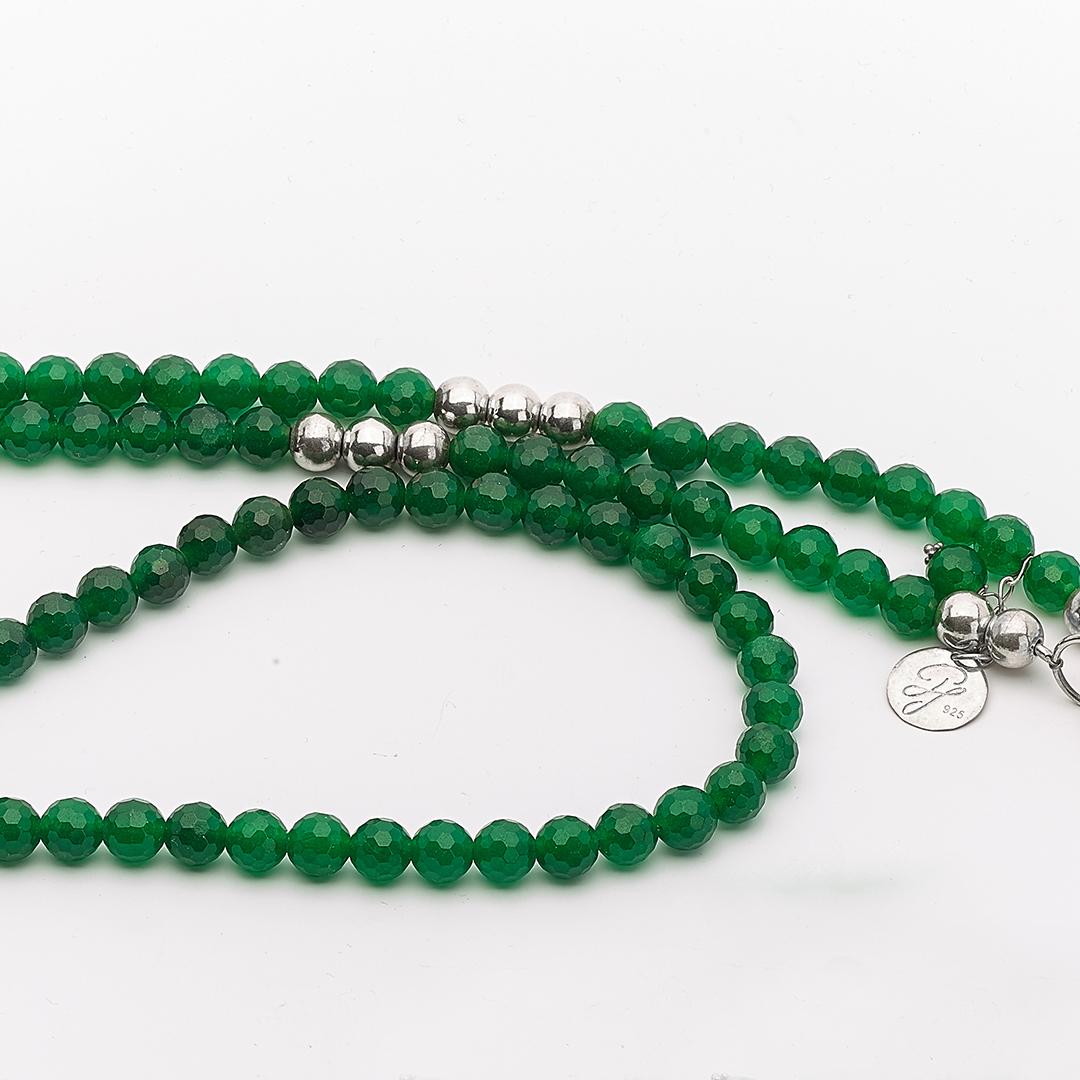 Perle de Jade collier en pierre de quartz et argent massif