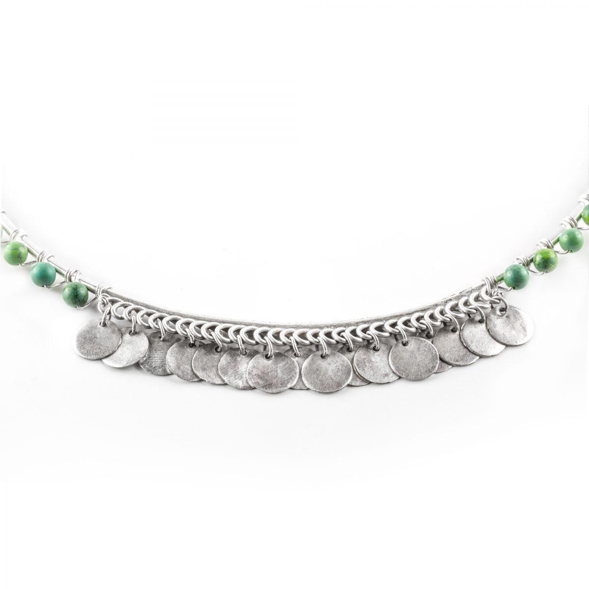 Collier Perle de Jade en pierre de turquoise et argent massif
