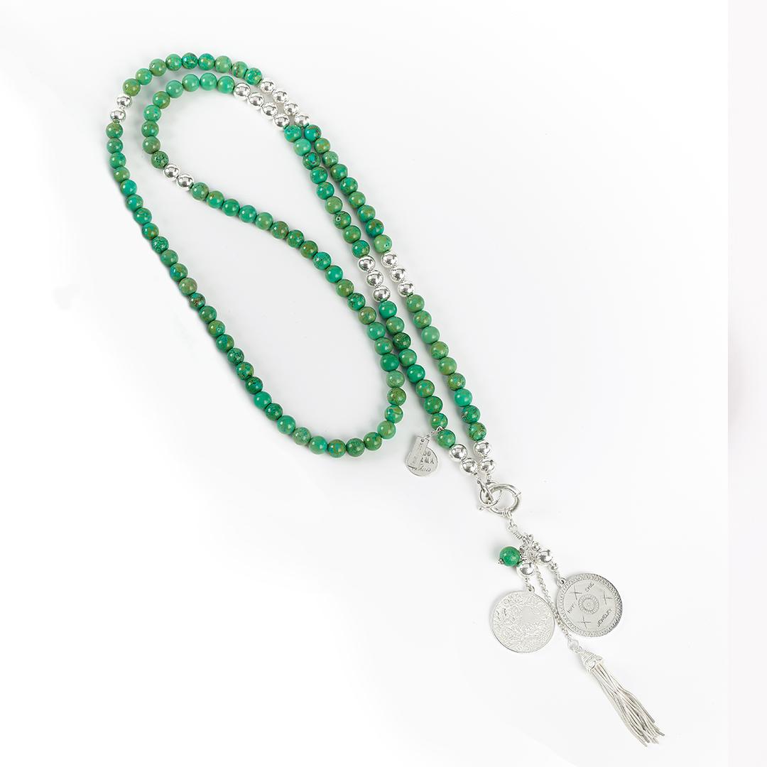 Collier perles vertes argent massif 925