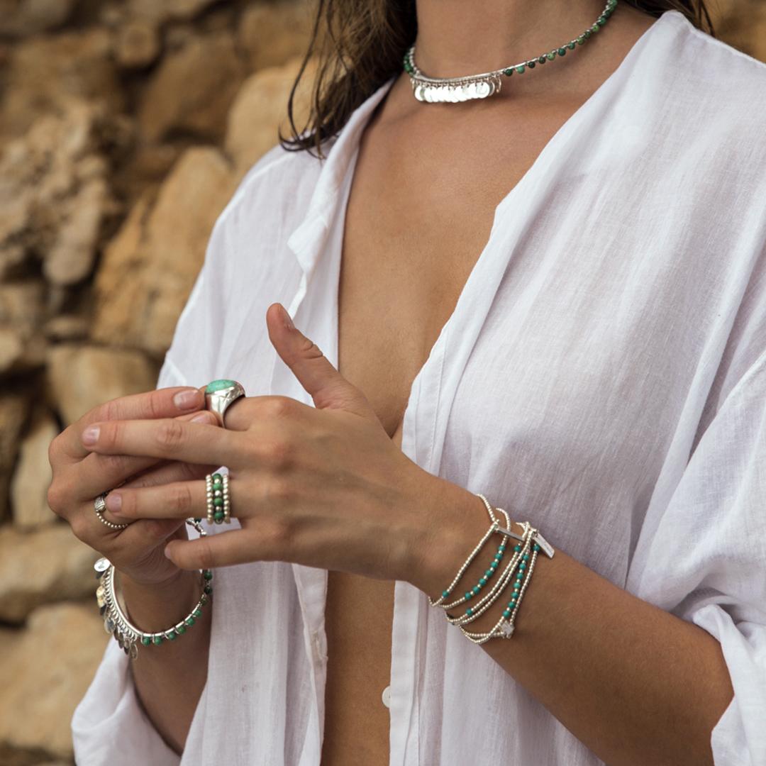 Bracelet élastique perles d'argent massif (925) et de turquoise Perle de Jade