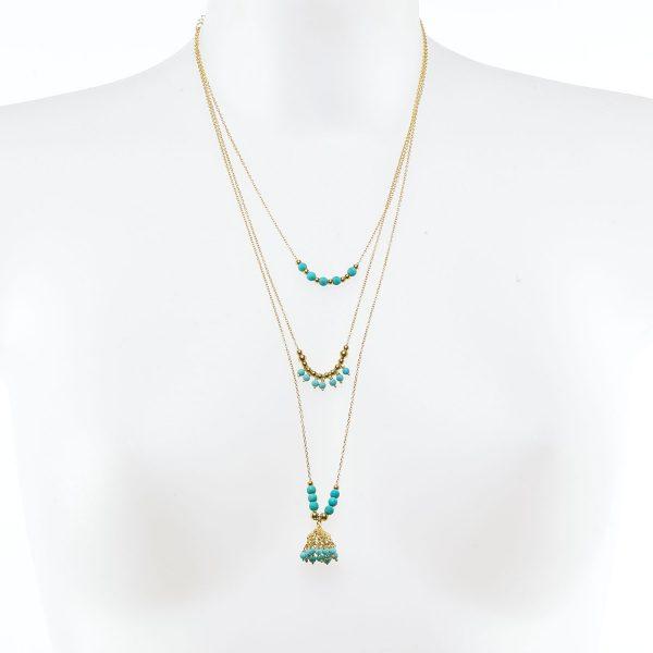 Collier Perle de Jade vermeil pierres turquoise