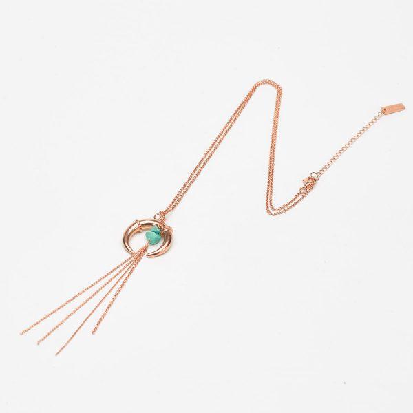Collier Perle de Jade vermeil rose pierres de turquoise