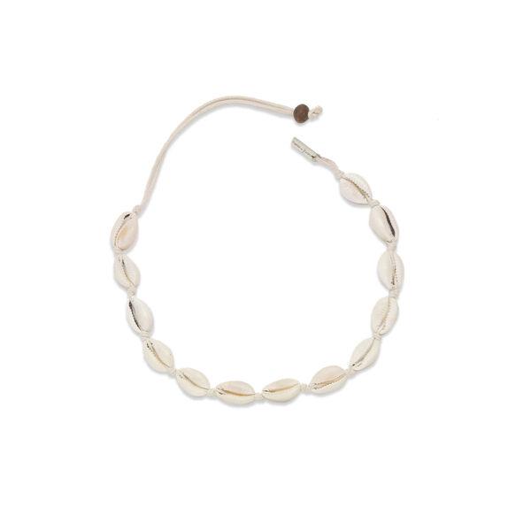 Collier coquillage beige perle de jade artisanal 1