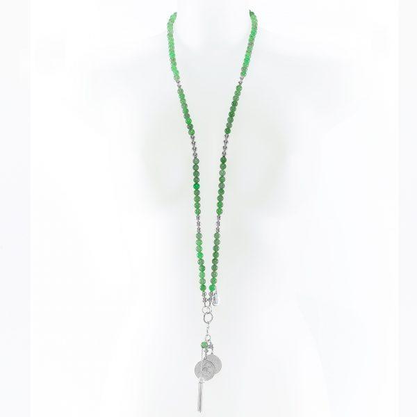 Perle de Jade collier en pierre de jade et argent massif