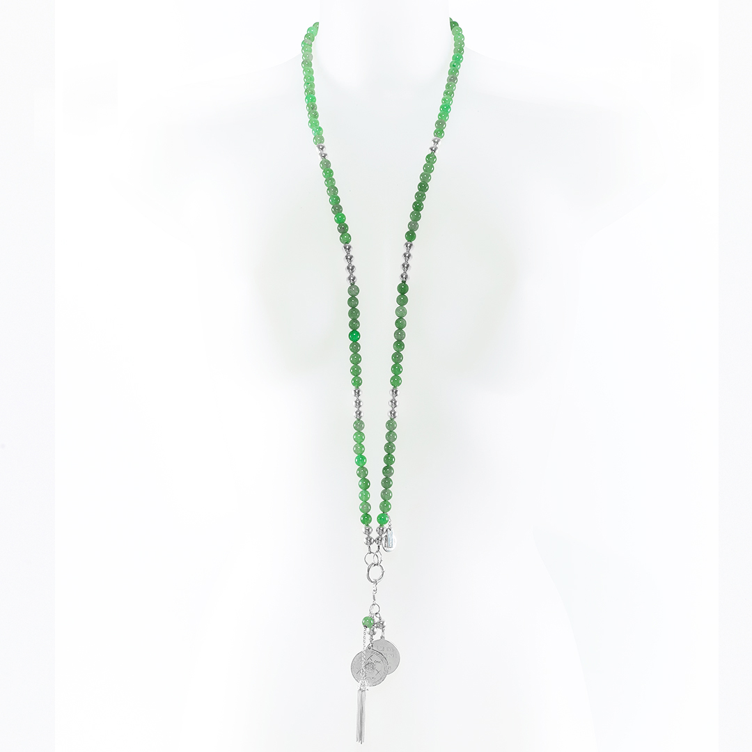Beaded silver and jade necklace