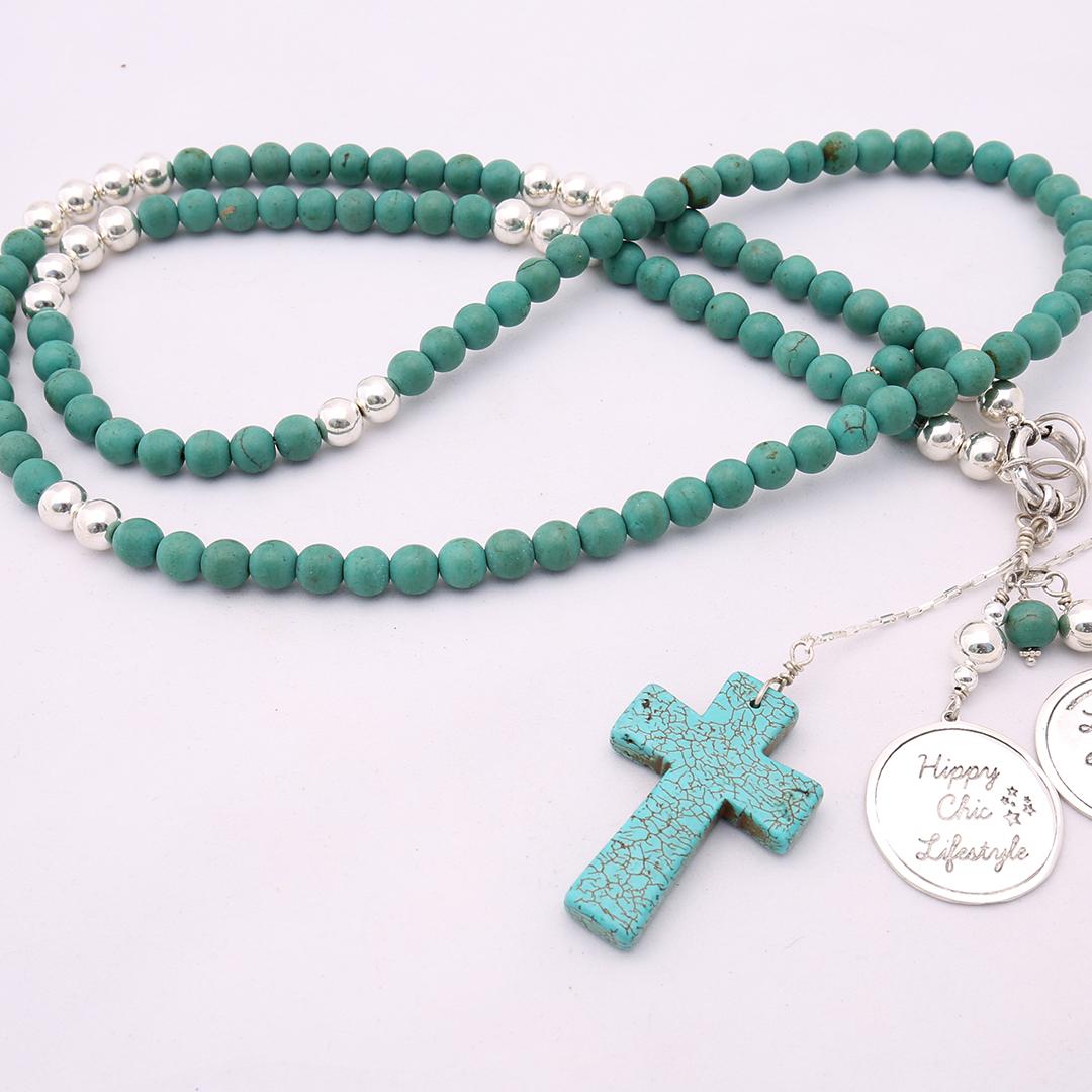 Perle de Jade collier en pierre de turquoise naturelle