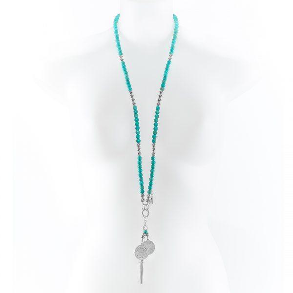 Collier Perle de Jade pierres de turquoise