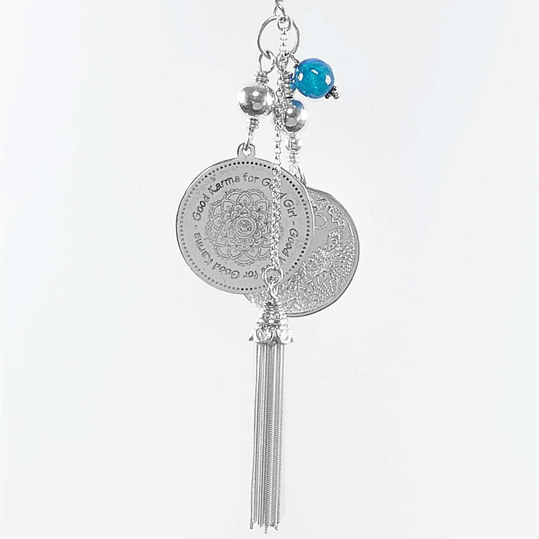 Perle de Jade collier en perles de quartz bleu