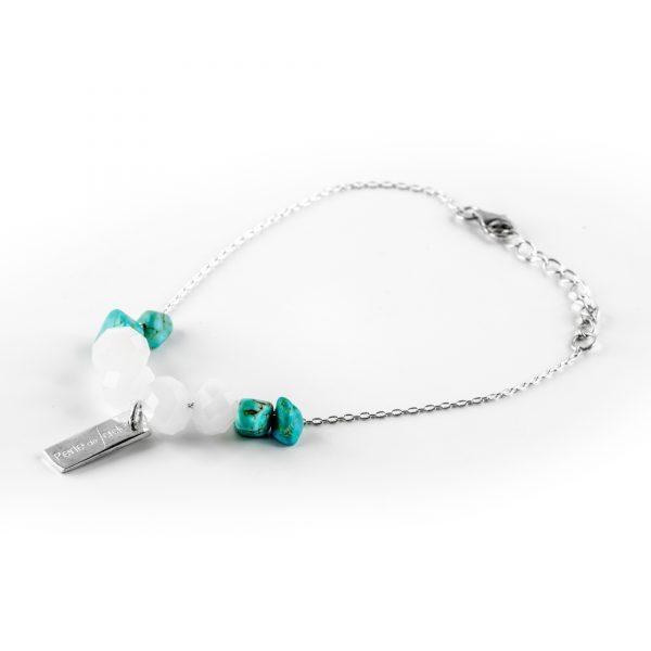 """Bracelet """"This World"""" en argent et pierres de turquoise Perle de Jade"""