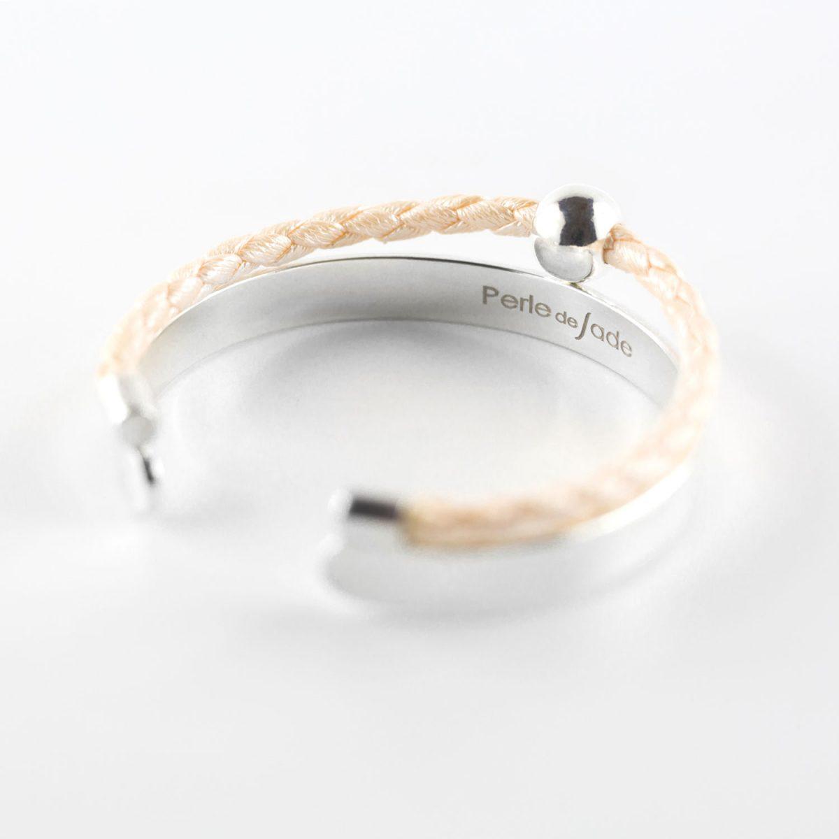 Perle de Jade bracelet en cuir beige et argent massif (925)