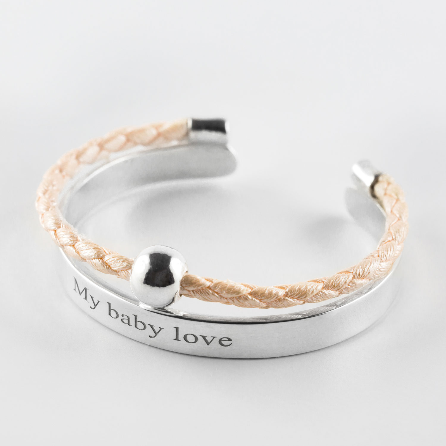 "Child's ""My baby love"" bangle in silver with argent beige leather cord"