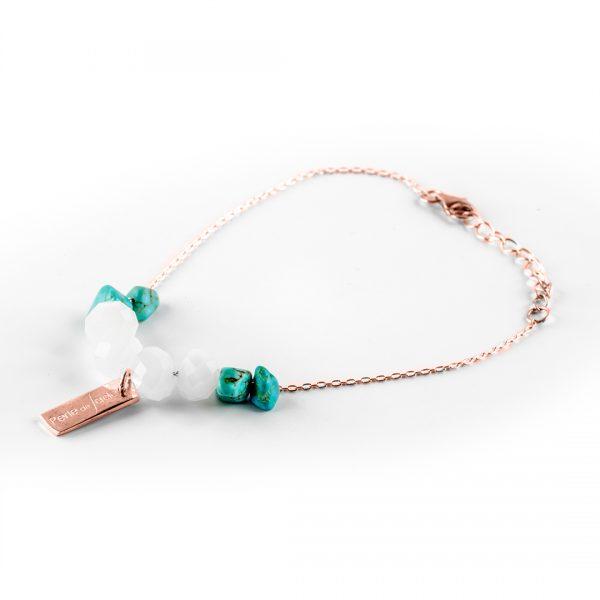 """Bracelet """"This World"""" en cuivre et pierres de turquoise Perle de Jade"""