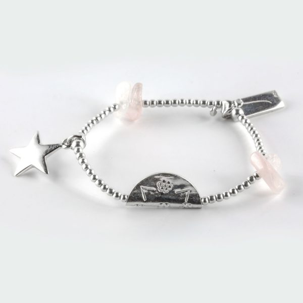 bracelet élastique enfant quartz rose perle de jade
