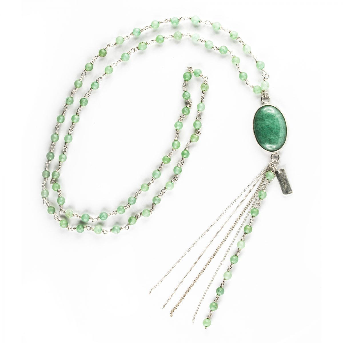 """""""Wish"""" necklace with small silver and  aventurine beads"""