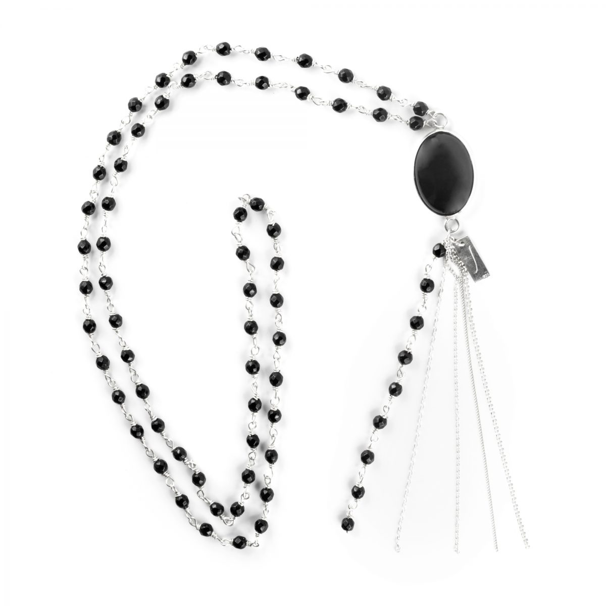 Collier perles onyx argent Perle de Jade