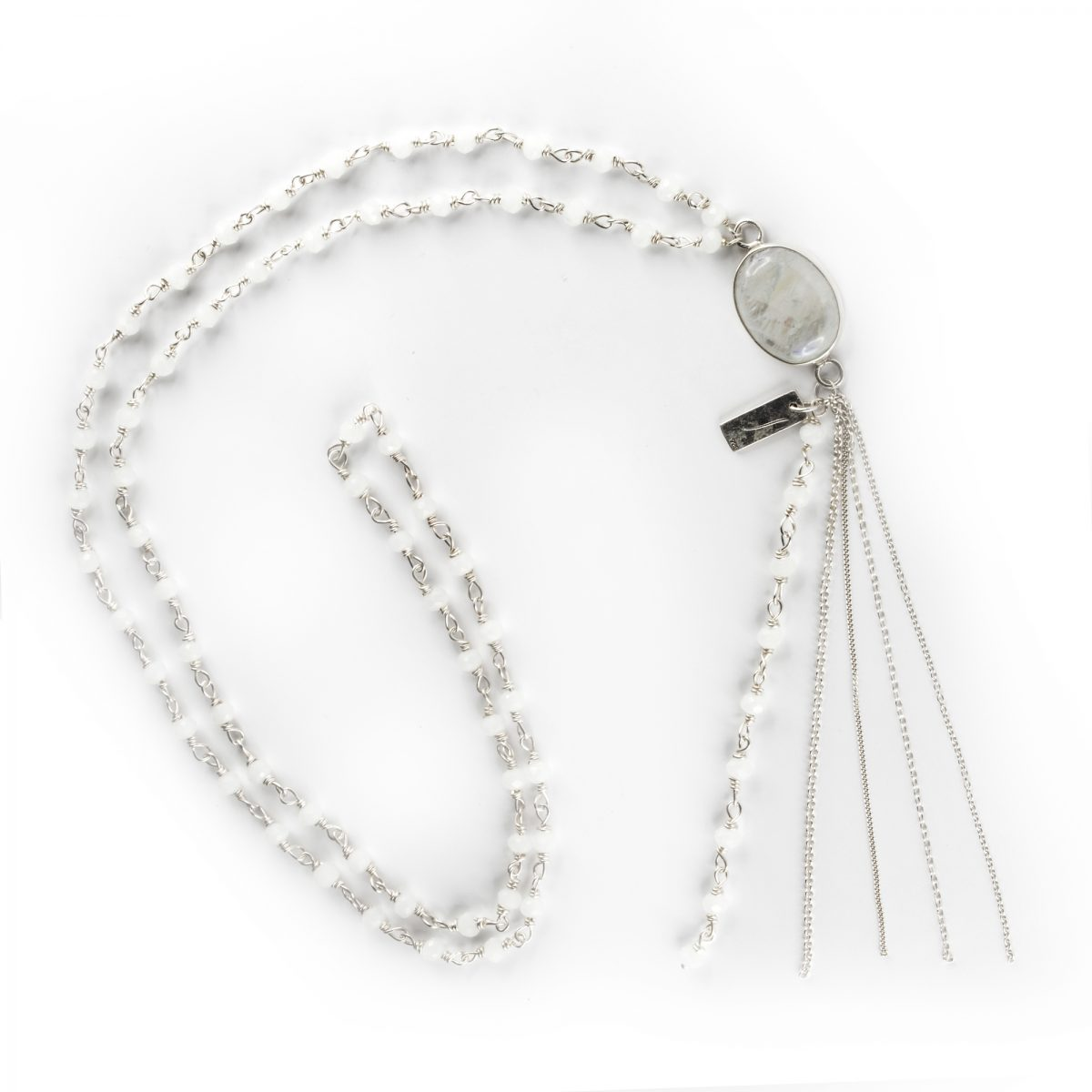 """""""Wish"""" necklace with small silver and  white quartz beads"""