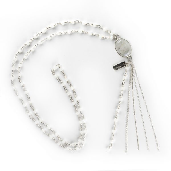 Perle de Jade collier argent massif perle de quartz blanc