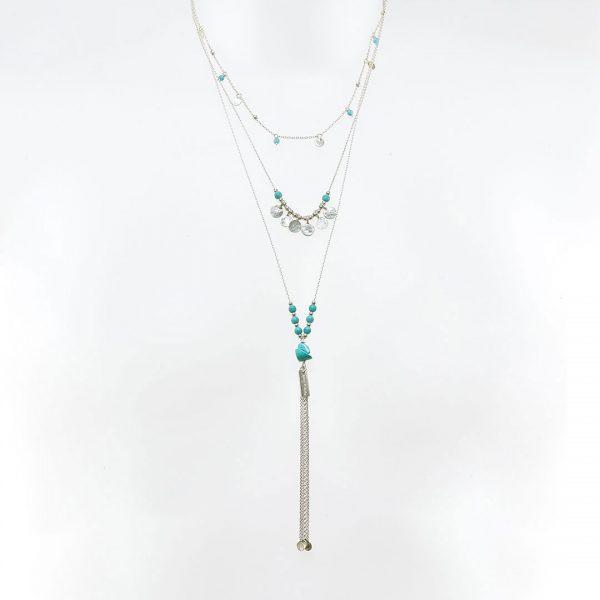 Collier 3 niveaux argent et turquoise Perle de Jade