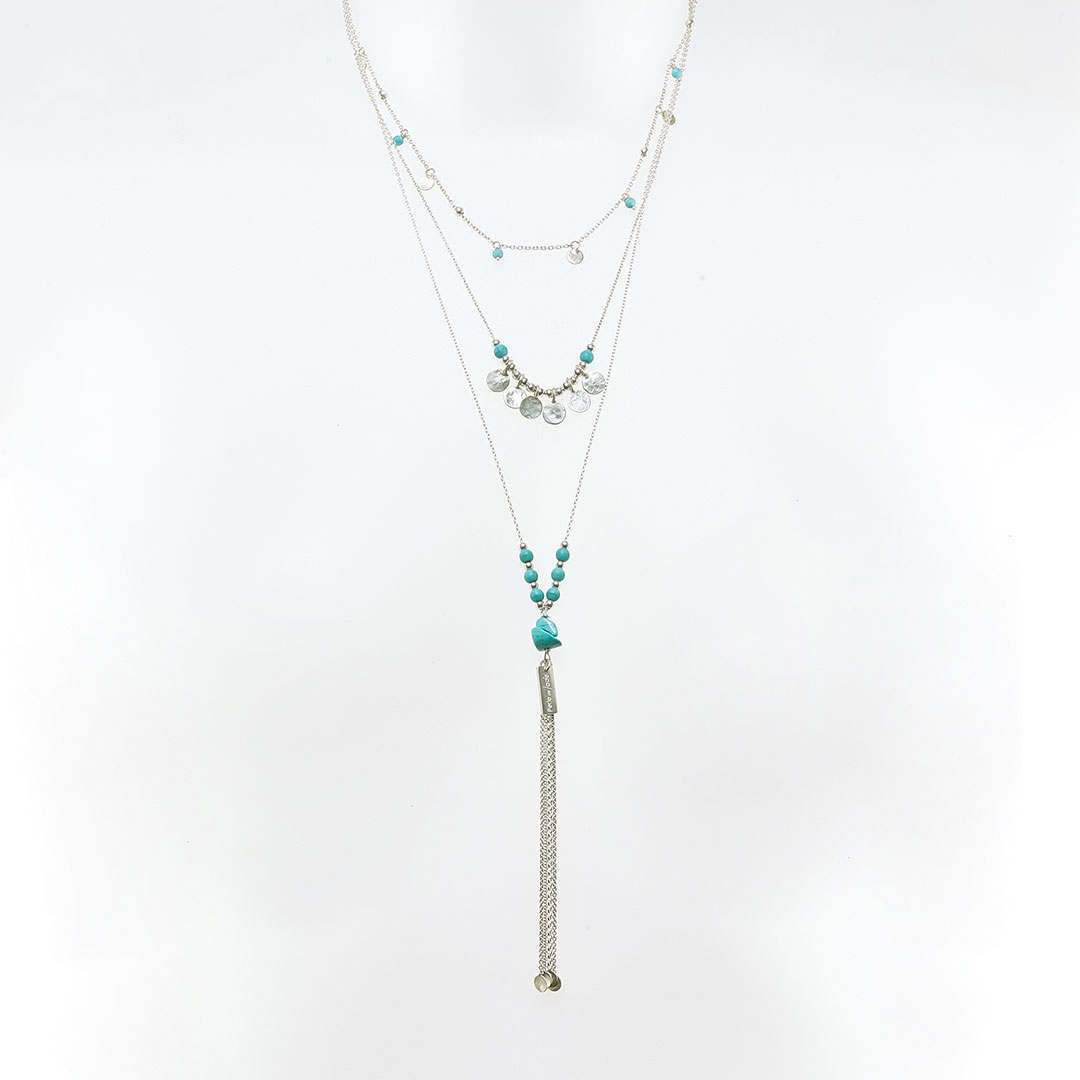 Charm necklace – triple layered silver with turquoise