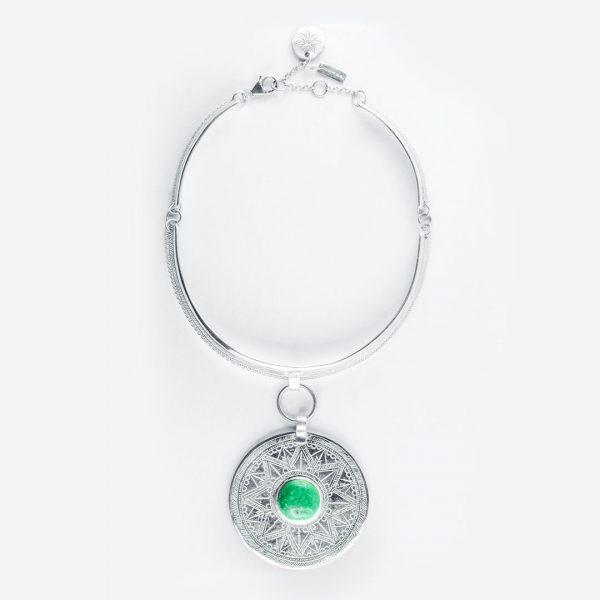Collier Moonshine argent massif et pierre de turquoise Perle de Jade