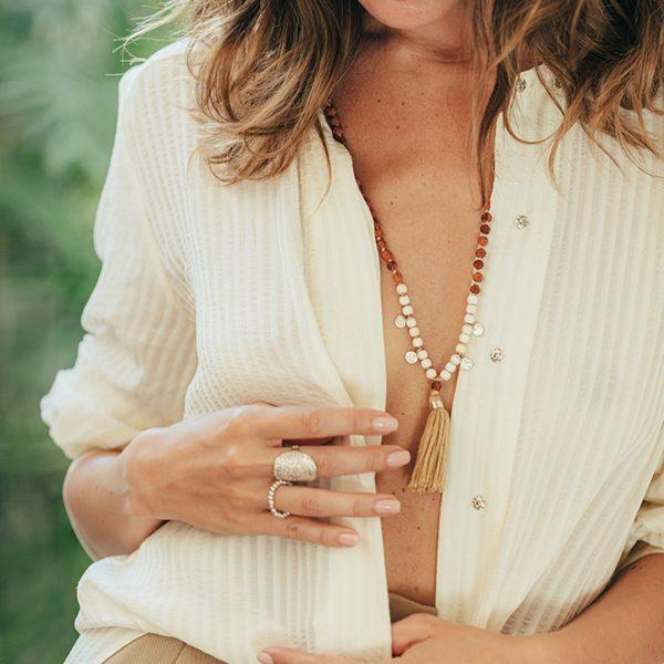 Bague élastique due et argent-massif-925 - Perle de Jade