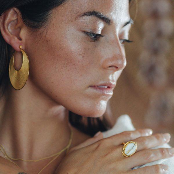 Bague coquillage en vermeil Perle de Jade