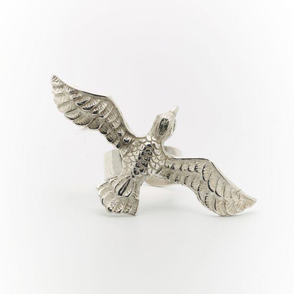 Perle de Jade bague wild bird en argent massif (925)
