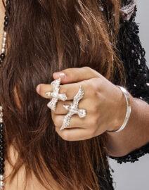 Perle de Jade eagle ring small en argent massif 925