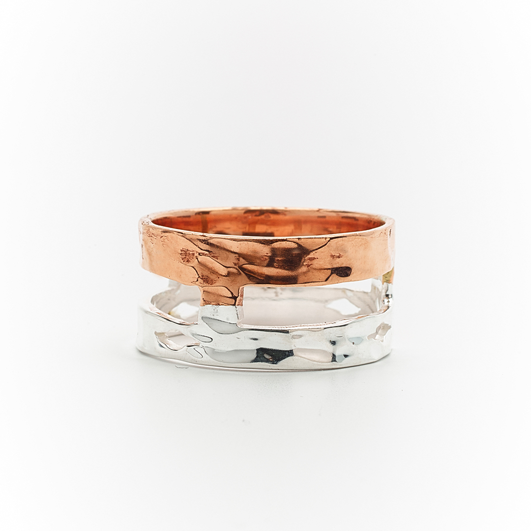 """Copper Silver"" ring"
