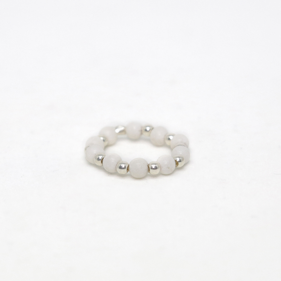 "Elasticated ""White Fossil"" ring (sold individually)"
