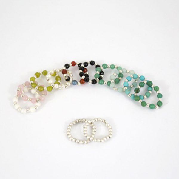 Bagues argent massif (925) et pierres naturelles Perle de Jade