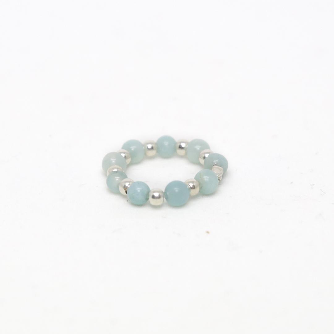 bague élastique en pierres de quartz bleu ciel perle de jade