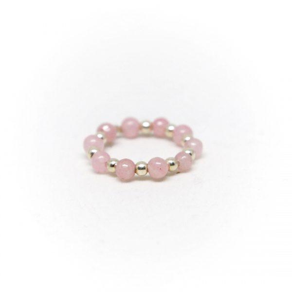 bague élastique pierres de quartz rose perle de jade