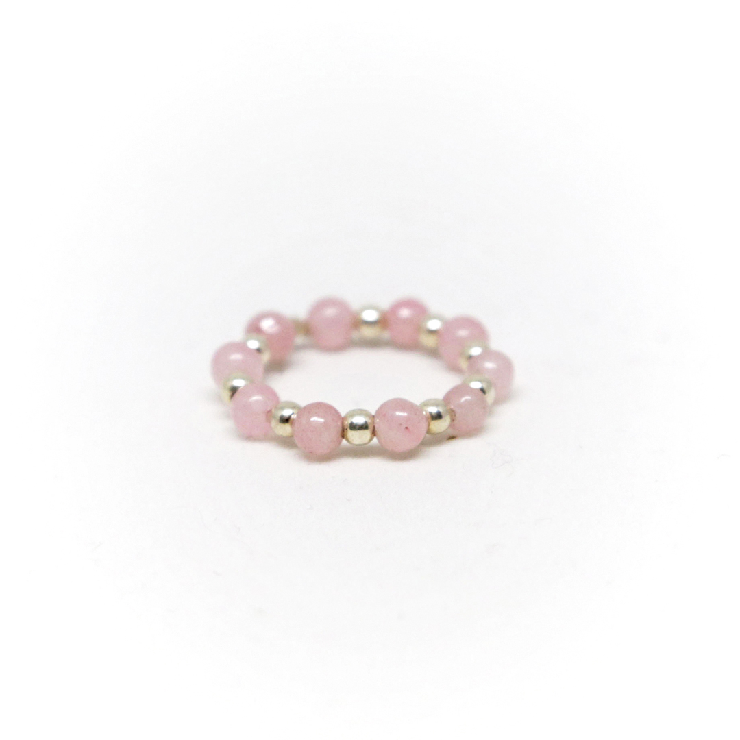 Bague élastique en quartz rose et argent massif (925) Perle de Jade