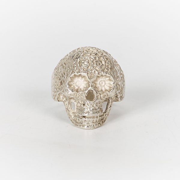 Bague Tête de mort mexicaine argent massif (925) Perle de Jade