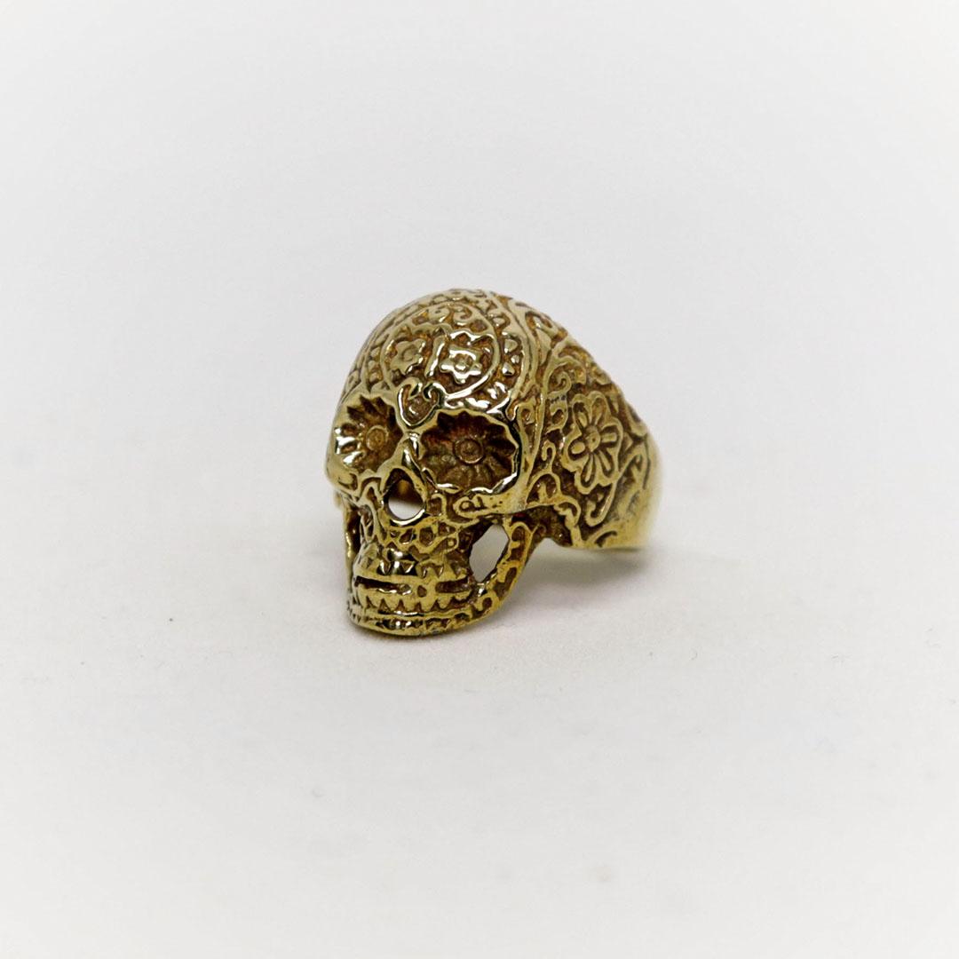 Bague Tête de mort mexicaine bronze Perle de Jade