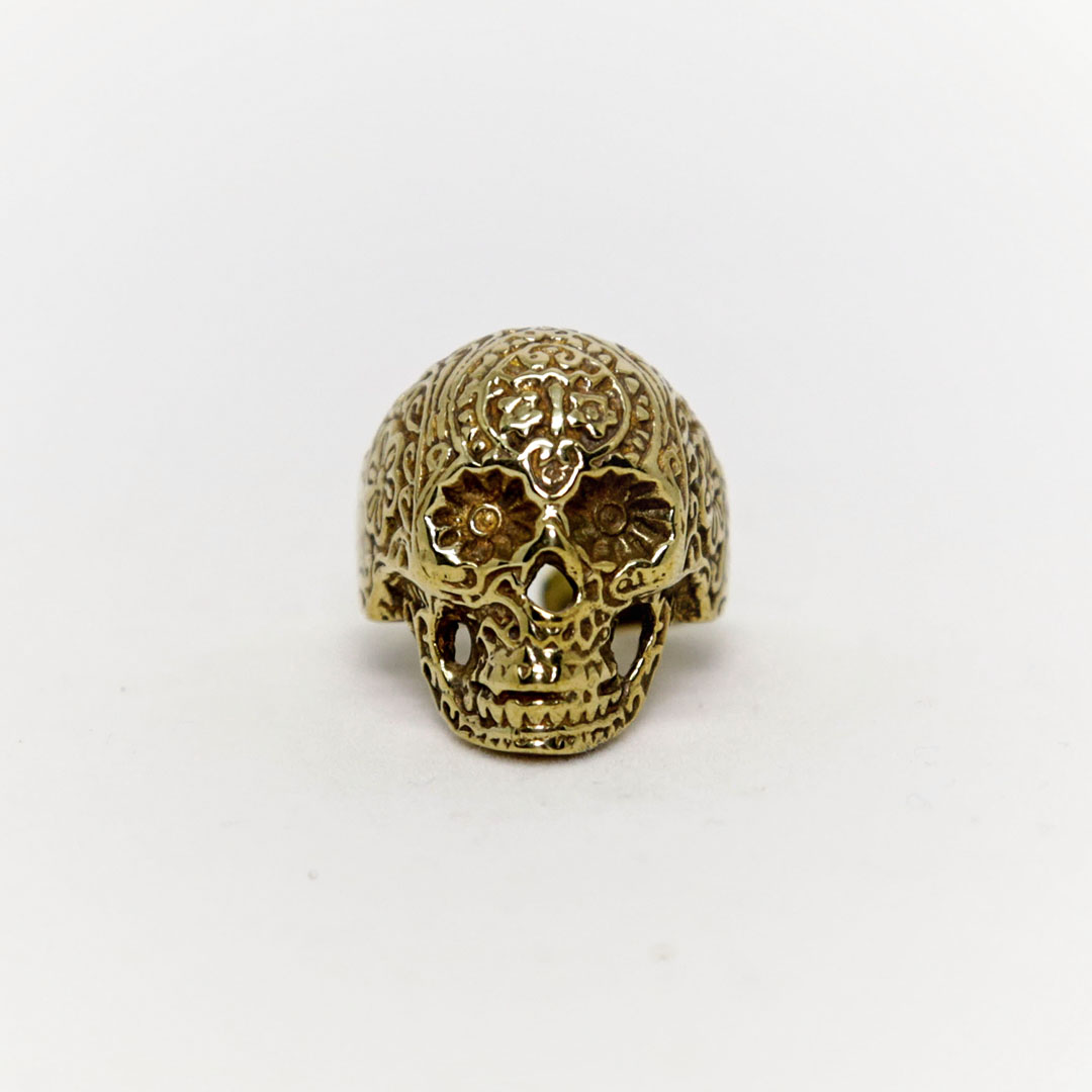 """Mexican Skull"" bronze ring"
