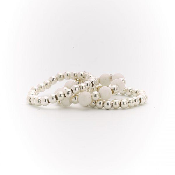 Bagues trio argent massif (925) et pierres de fossile blanc Perle de Jade